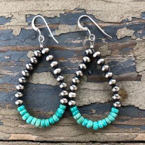 Teal Kingman Turquoise & Desert Pearl Loops